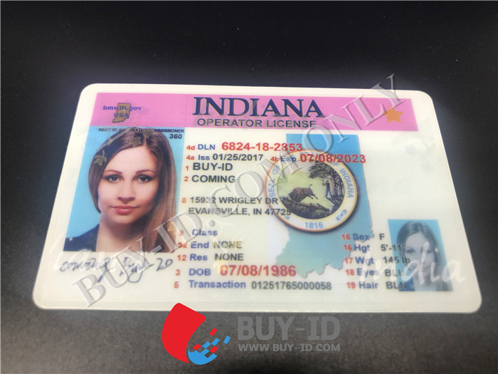 Indiana id Front view