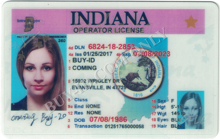 Indiana id front