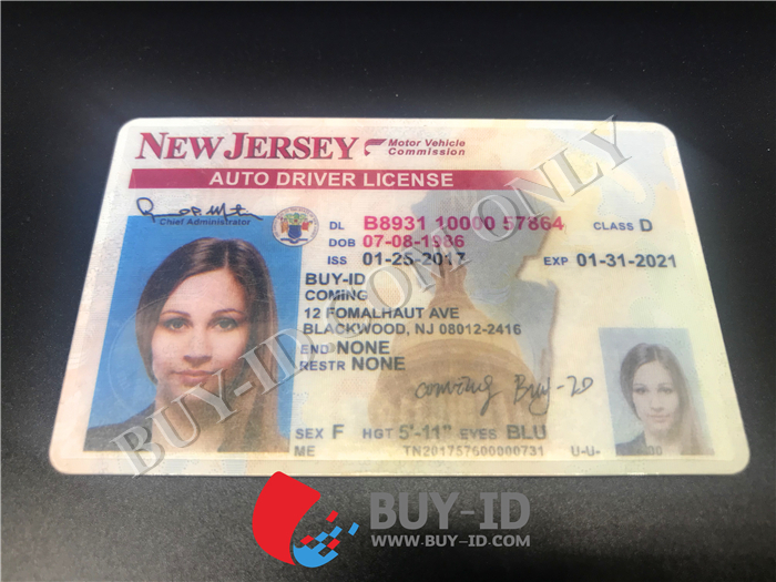 New jersey id Front view