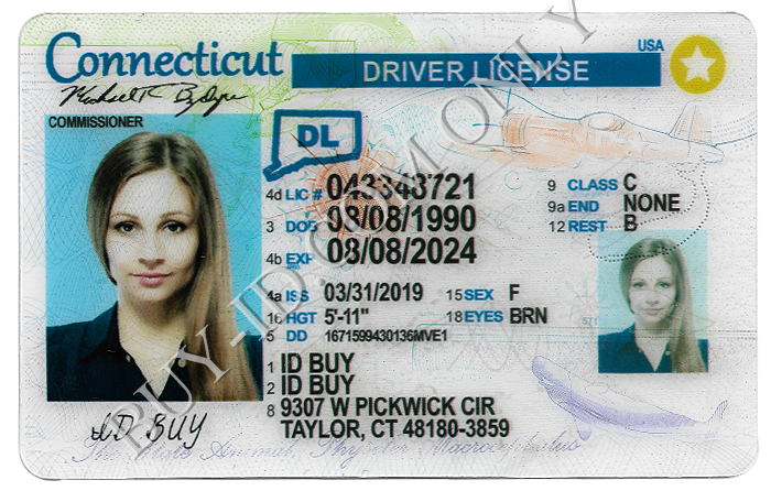 New Connecticut fake id Front