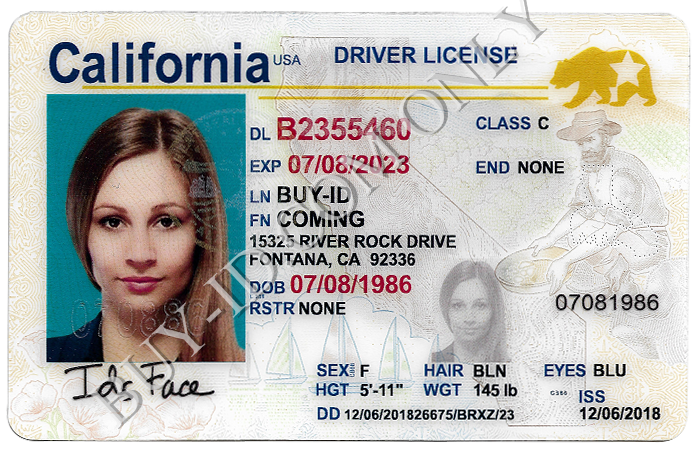 New California fake id front